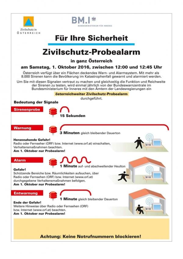 Zivilschutzprobealarm am Samstag, 1. Oktober